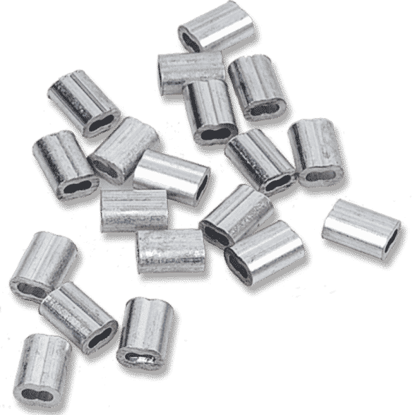 Aluminum crimps for steel cables - also known as ferrules or sleeves