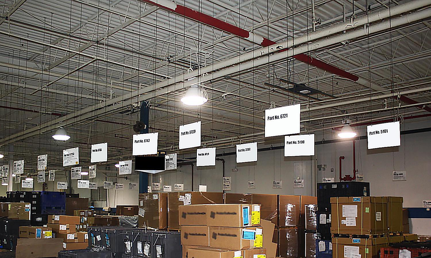 Warehouse ceiling signs hanging solutions - CeilingOutfitters.com