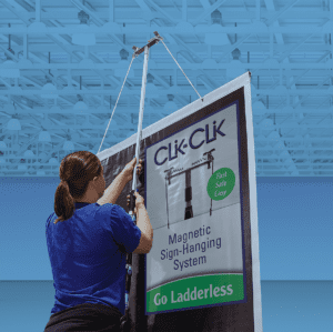 Clik-Clik Ceiling Sign Hanging Systems
