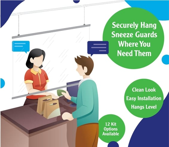 Ready-To-Hang Sneeze Guard Kits for Tax Preparation Offices from Ceiling Outfitters®